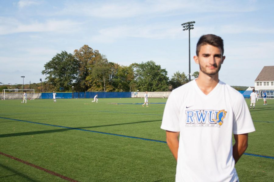 Roger Williams University freshman men's soccer player Jadon Desmarais stands on the sideline during a practice. Jadon is currently out for the season with a elongated left patellar tendon and will undergo surgery on Friday.