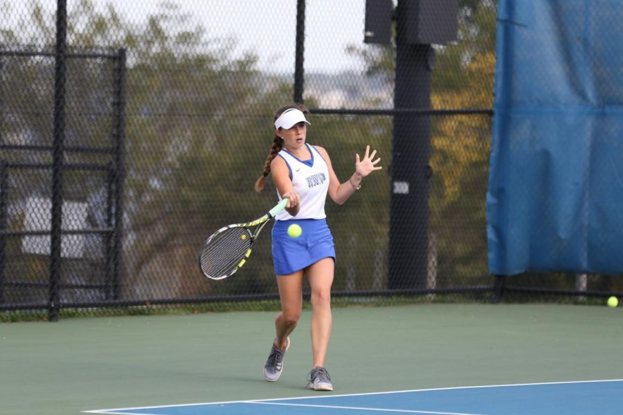 Senior Kathryn Hughes was a big part of the women's tennis team's success this past season.