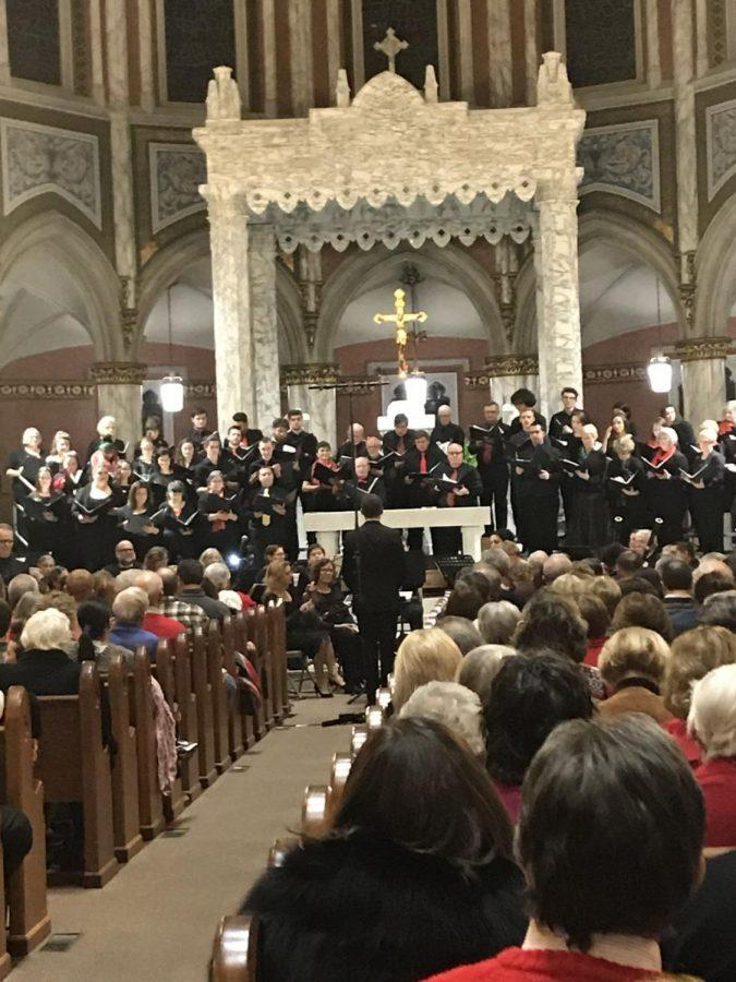 RWU chorus performs at Saint Mary's Church