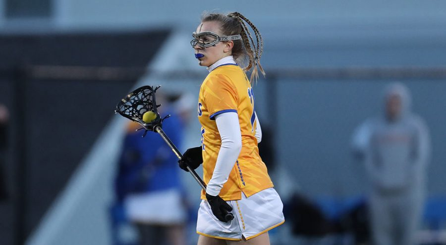 Senior Kaelin Hogan helped lead a strong RWU attack vs. Salve Regina University on Tuesday, March 27 in a 21-4 win.