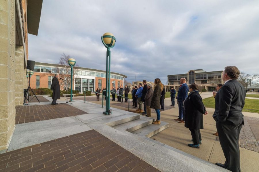 President Donald J. Farish addresses the gathering in front of the Univerity Library, calling for an acknowledgement of those who have lost their lives due to gun violence, as well as solutions for preventing future violence from occurring.