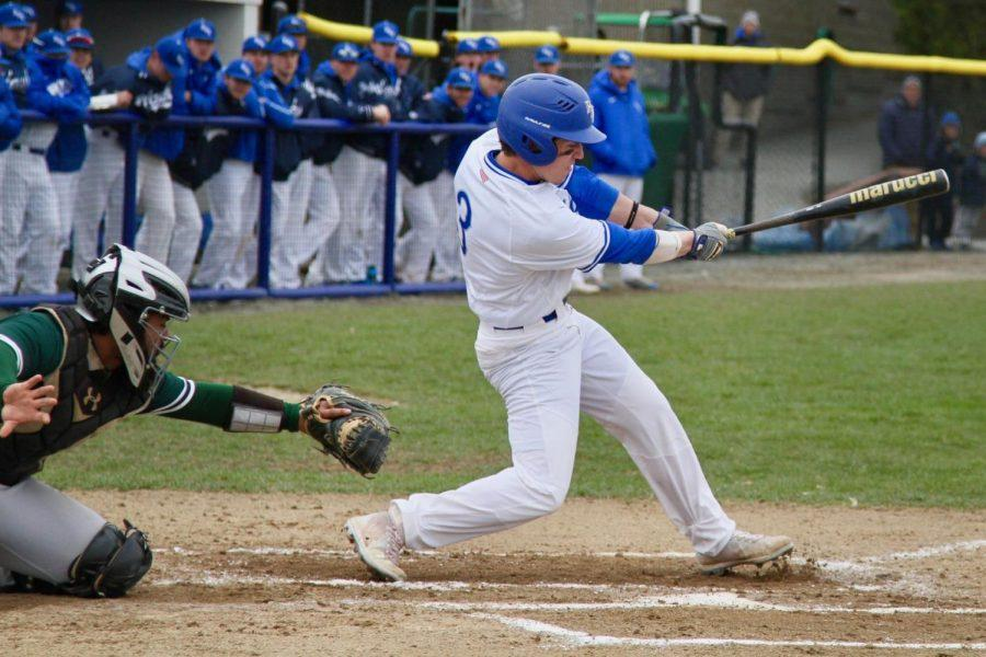 Sophomore outfielder Justin Stone hit a walk-off single in the 14th inning to give the Roger Williams University baseball team a split in Sunday's doubleheader vs. Nichols College.