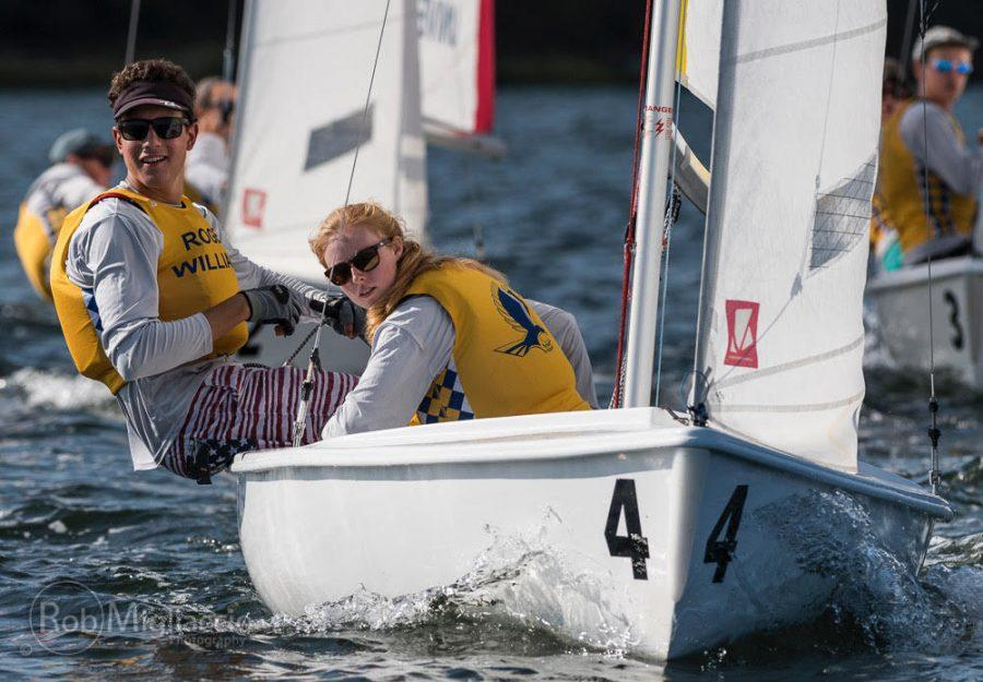 Spencer+Cartwright+%28left%29+ventures+out+sailing+with+RWU+teammate+Emily+Gildea+%28right%29.