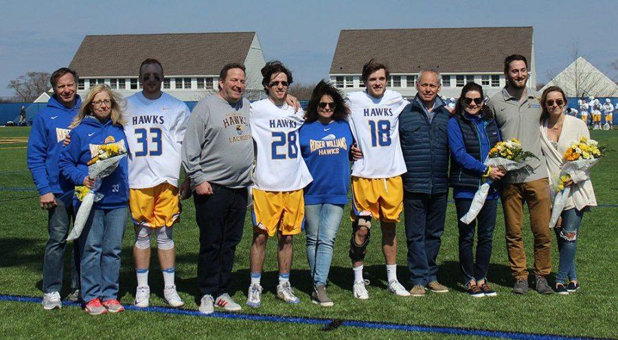 Seniors Tim Walch (far left), Justin MacIntyre (middle left), Owen Love (middle right), and Eddie Hill (far right) before last Saturday's game vs. Western New England University.