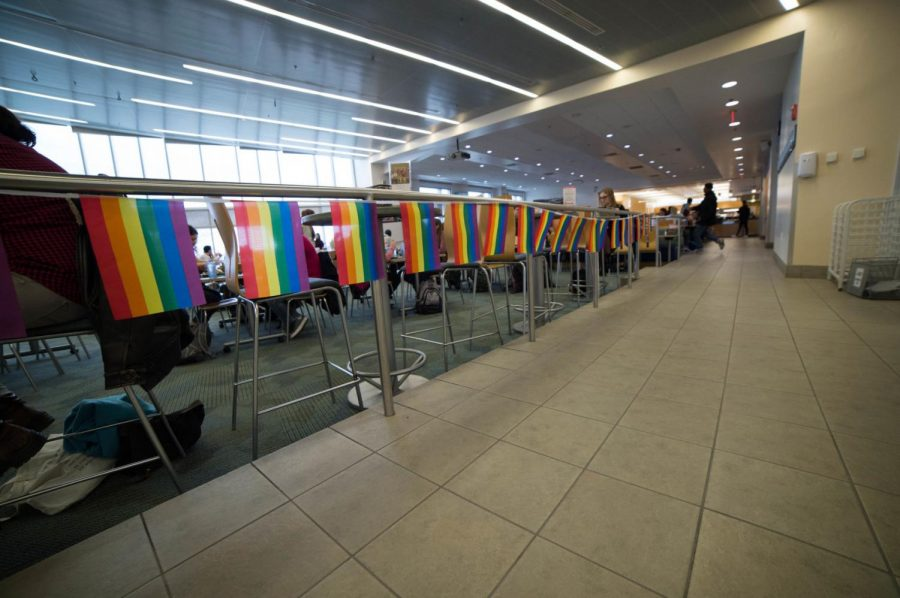 Pride flags decorate Upper Commons in honor of Pride Week.