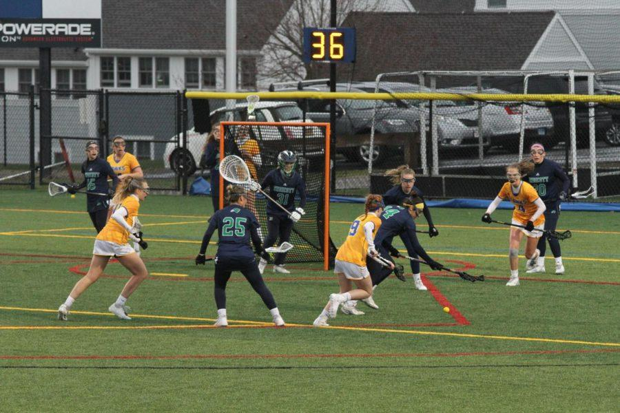 The+Roger+Williams+University+womens+lacrosse+team+lost+to+conference+rival+Endicott+College+14-9+on+Wednesday+afternoon.