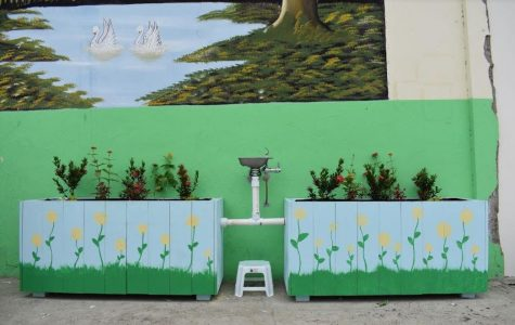 The final water dispenser that students built is pictured here in Anconcito, Ecuador.