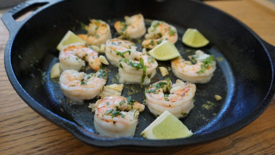 The cilantro and lime shrimp ready to serve and eat.