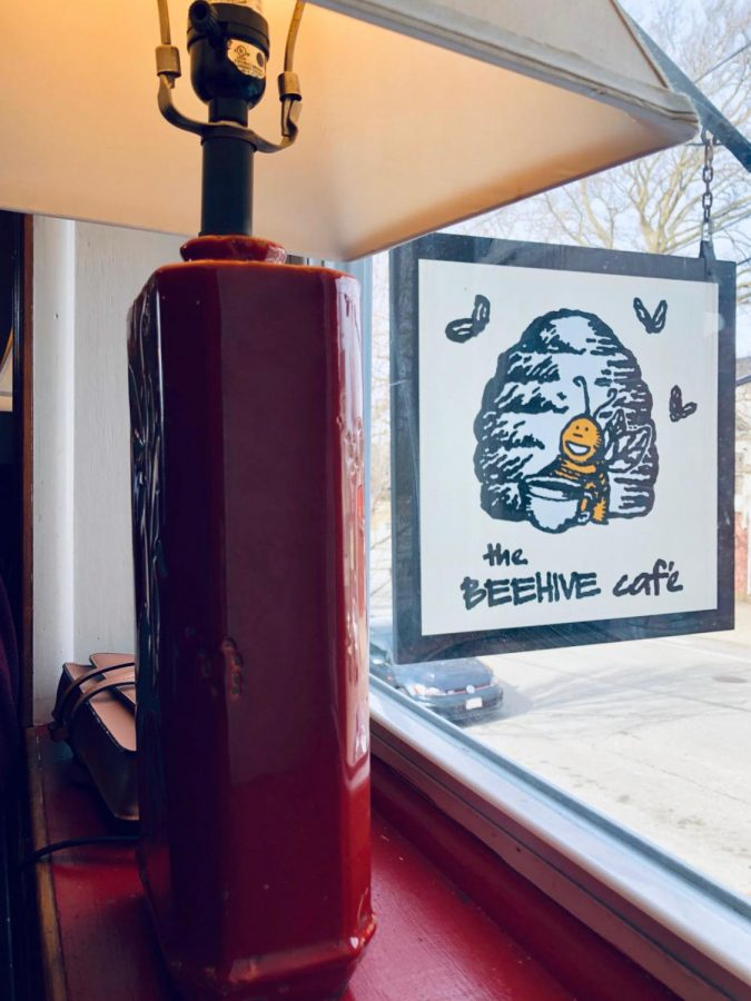 The view from the second story window of the Beehive Cafe.