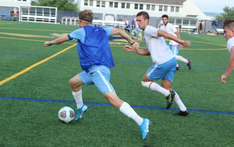 Colby Decker and Matthew Bacon compete against one another in practice.