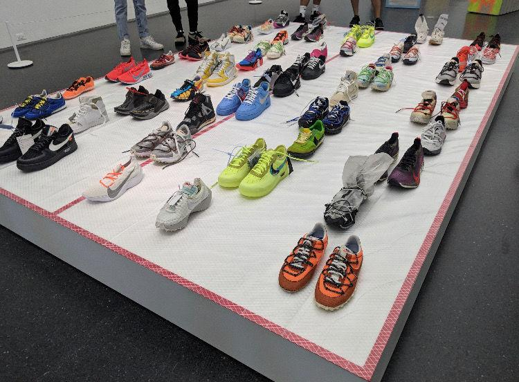 Off-White x Nike shoes at the MCA Museum in Chicago, Illinois.