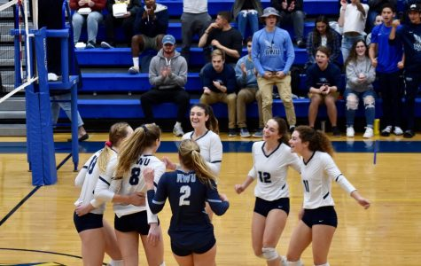 Volleyball scores and comes together to celebrate during a game.