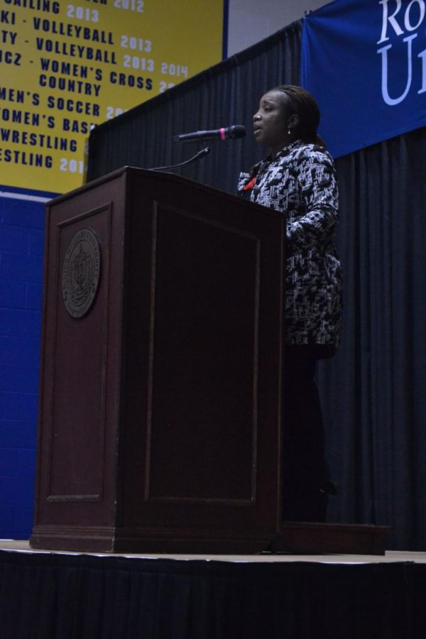 Dr. Ame Lambert led the EAP Launch on Feb. 21 in RWU's gym.