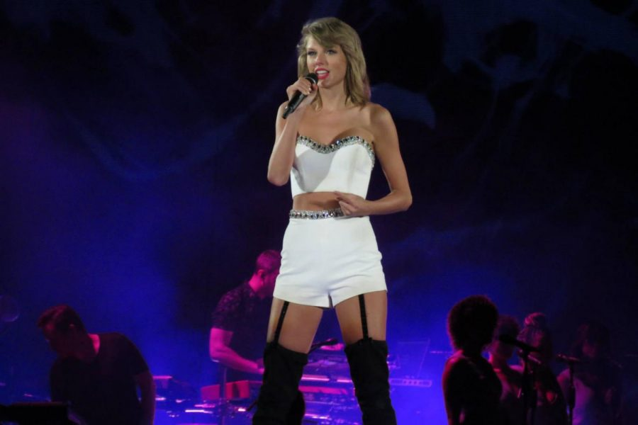 Taylor Swift performing at Gillette Stadium in August 2015 during her 1989 World Tour. Swift struggled with her body image and self-care.