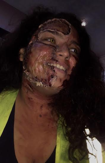 Angelique Rivera is able to transform her face using FX makeup and colored contacts.