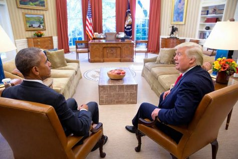 Trump meets with Obama in the Oval Office.