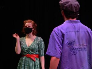 RWU actors and actresses must remain six feet apart on stage due to COVID-19 restrictions.