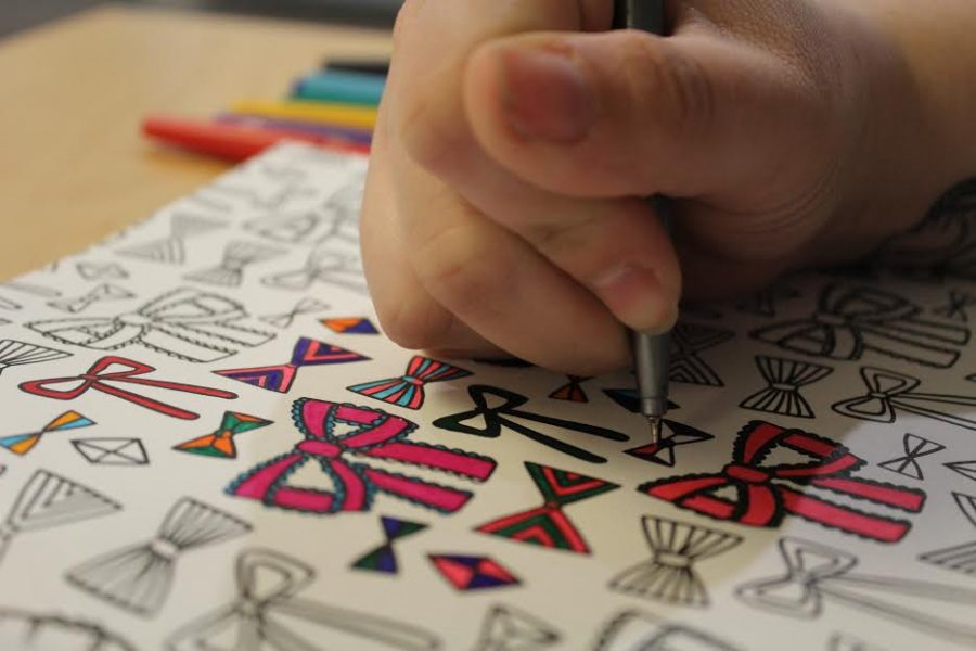 Adult coloring books are a great way to relax on Valentine's Day.