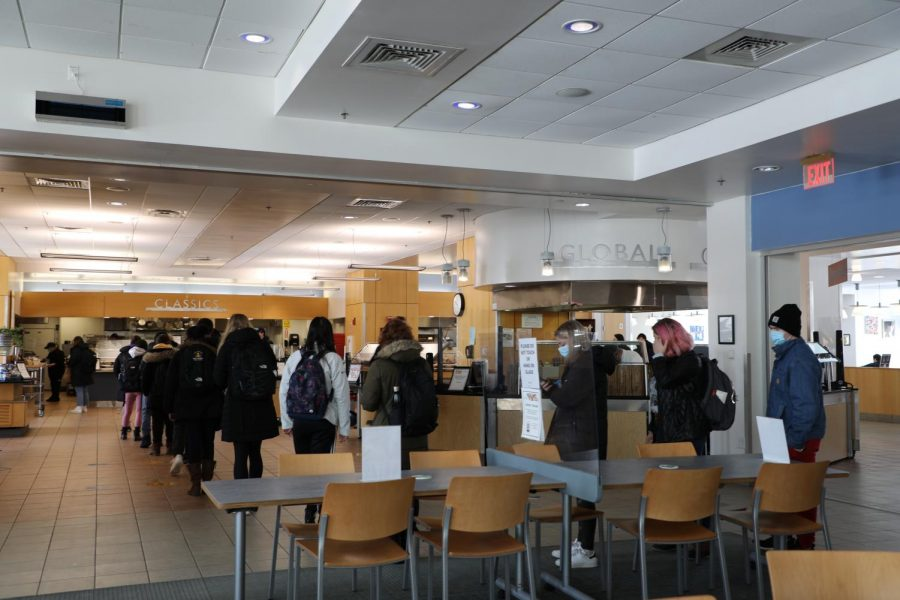 Multiple students dining in Upper Commons as breakfast came to a close on Feb. 10 were sitting by themselves or in sets of two. Students were able to dine there in-person in pods of four or less.