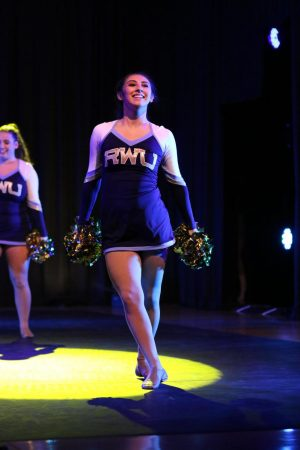 Senior Natalia Villareal is currently President of the Hawkettes Dance Team at Roger Williams University. She is pictured performing in a show in 2018.