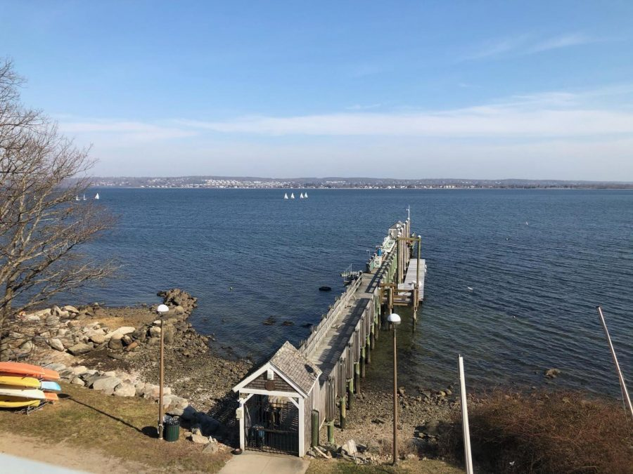 Students were able to experience a sunny day along Mount Hope Bay for Study Break Day.