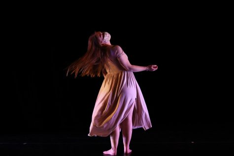 "Senior Dance Theatre member Sarah Barakian performs her piece ""An Honest Contemplation."""