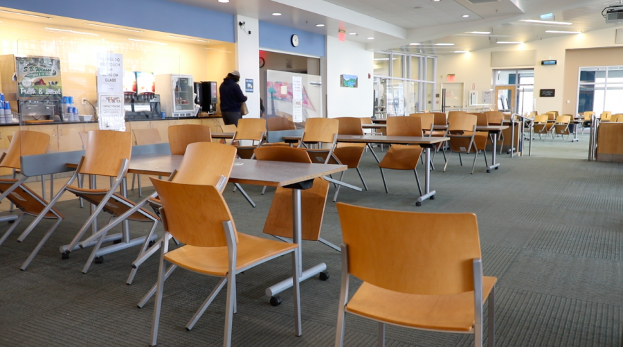 In-person dining was paused until April 9 due to an increase in positive COVID-19 cases on campus.