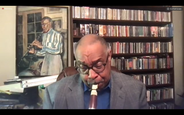 White plays several notes on his clarinet to demonstrate how music inspired Gaines.