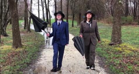 "Gillian Snyder (left) and Gigi Robertiello (right) perform ""Singing in the Rain."""