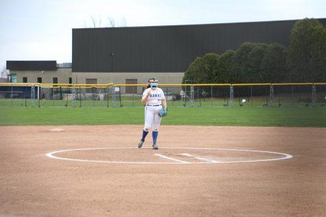 Senior pitcher Ellie Fleming stands on the pitchers mound during a double-header against Salve Regina University on April 21.