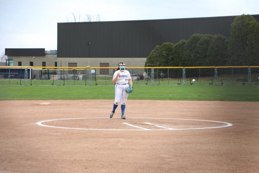 Senior pitcher Ellie Fleming stands on the pitcher