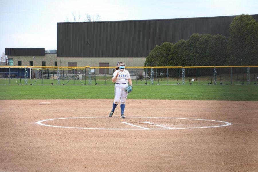 Senior pitcher Ellie Fleming stands on the pitcher's mound during a double-header against Salve Regina University on April 21.
