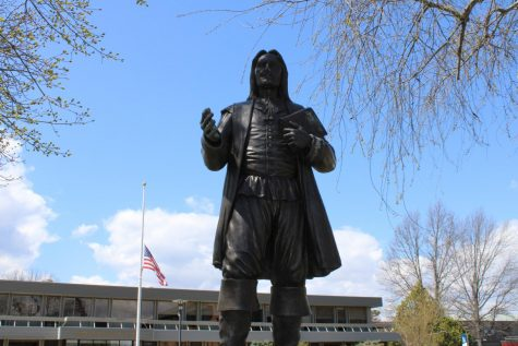 The Roger Williams statue is loving the warmer weather on campus.