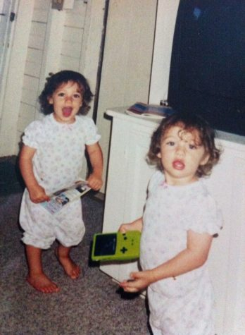 Emily and Rachel Dvareckas as toddlers. Growing up, they were always told they looked the same.