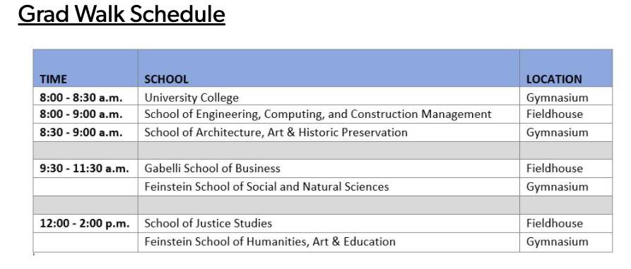 The+schedule+for+the+Class+of+2021+Grad+Walk+on+May+22.+Time+slots+are+separated+by+school.