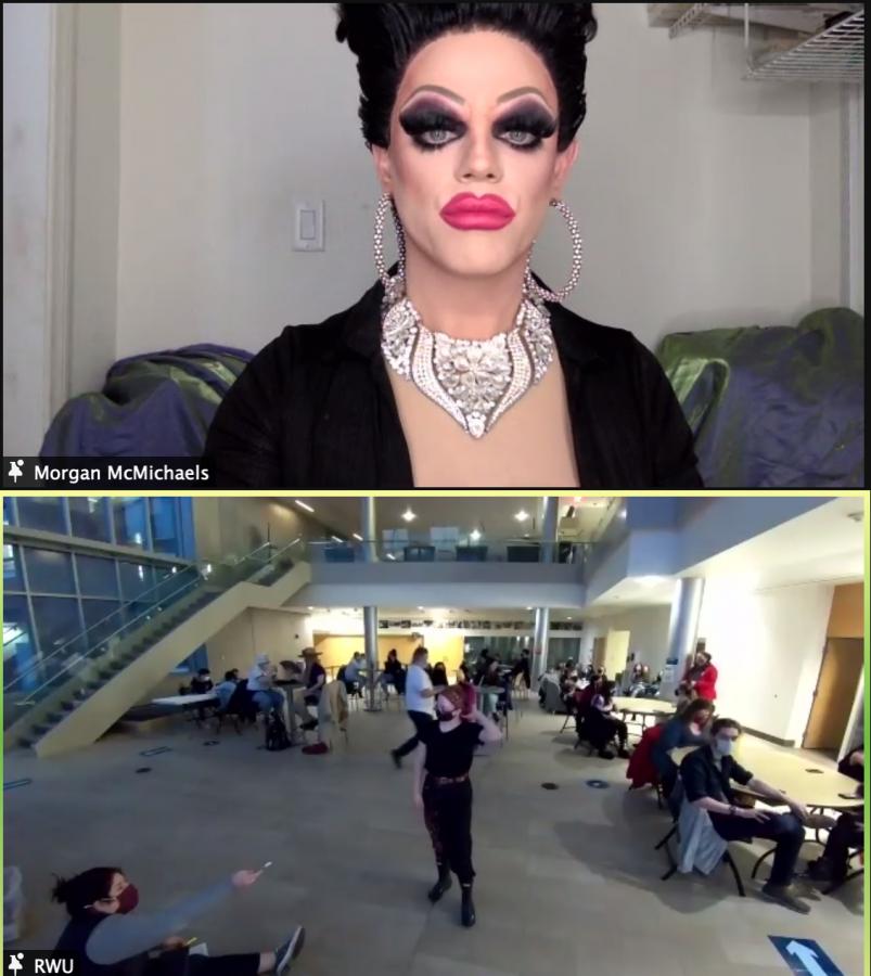 Drag queen Morgan McMichaels hosted SAGA's Drag Bingo.