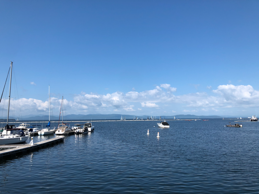 Lake Champlain extends for 120 miles between Vermont and New York.