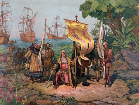 A painting titled Columbus Taking Possession of the New Country which was painted in 1893 by L. Prang & Co. Christopher Columbus arrived on American soil in 1492.