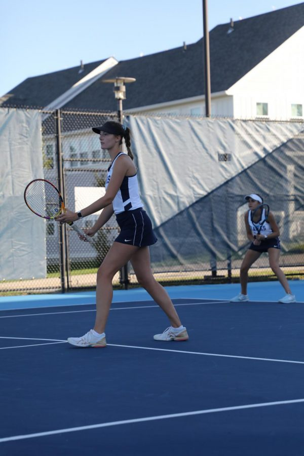 Emma+Place+and+Alessia+Cahoon+in+their+doubles+match+versus+Suffolk+University+at+home+on+Wednesday%2C+Sept.+29.+The+pair+won+their+match.