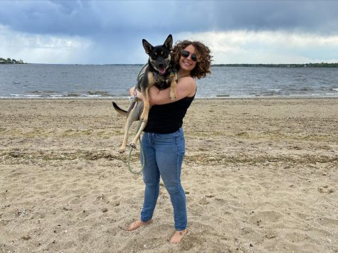 Gabby Porcaro and her dog, Delta. Porcaros last day at RWU is Sept. 10.