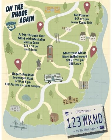CENs poster that details the information about the different events of 1, 2, 3 Weekend. This years theme is On the Rhode Again, showing how the community is ready to hop back in the wagon and move forward.