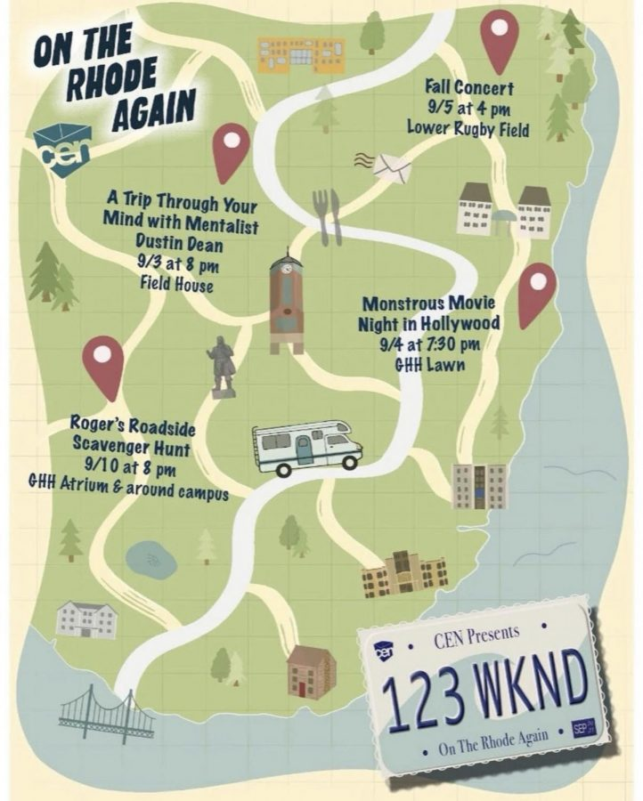CEN's poster that details the information about the different events of 1, 2, 3 Weekend. This year's theme is On the Rhode Again, showing how the community is ready to hop back in the wagon and move forward.