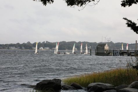 The sailing team practicing on September 15, 2021. The team started in tenth place during the pre-season but are now in sixth place.